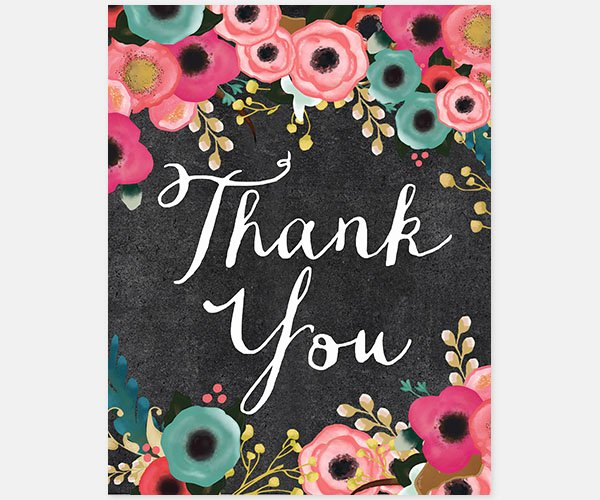 Chalkboard Thank You Cards Inspirational Spring Flowers Chalkboard Thank You Cards the Phoebe