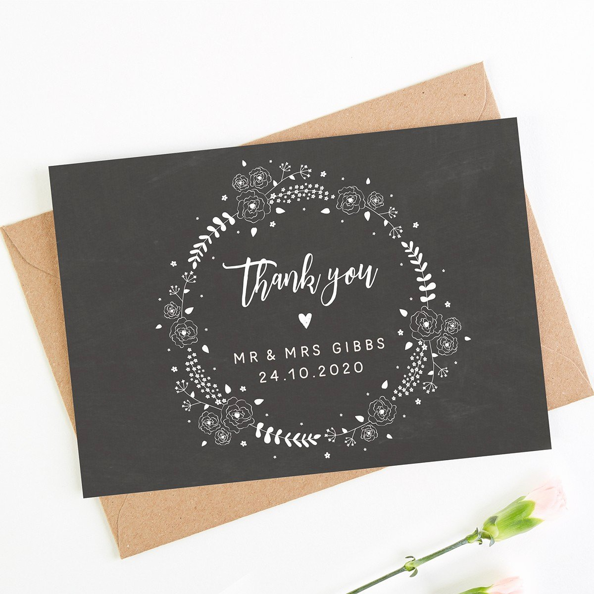 Chalkboard Thank You Cards Lovely Chalkboard Floral Wedding Thank You Card
