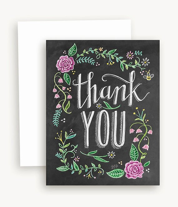 Chalkboard Thank You Cards Unique Floral Thank You with Color Card Thank You Chalkboard Art Floral Blackboard Card Hand