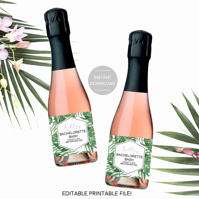 Champagne Bottle Label Template Unique Mini Champagne Bottle Label Template Bridal Shower Champagne
