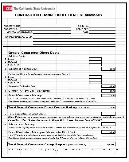 Change order form Excel Awesome 3 Construction Change order Templates