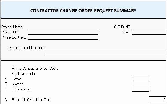 Change order form Excel Elegant Excel Template