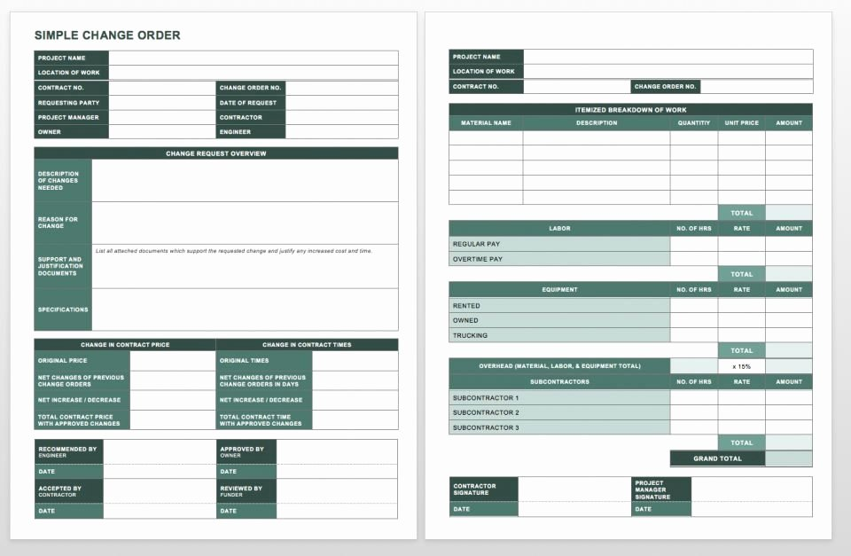 Change order form Excel Elegant Plete Collection Of Free Change order forms