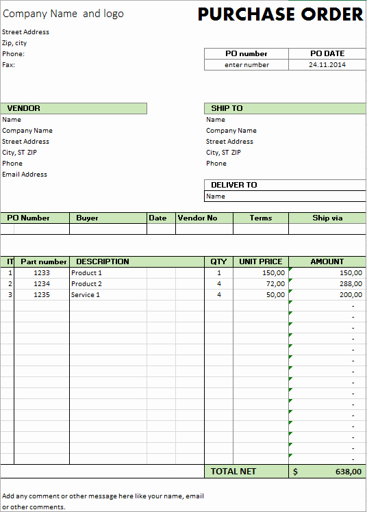 Change order form Excel Unique Excel Template Free Purchase order Template for Microsoft Excel by Excelmadeeasy
