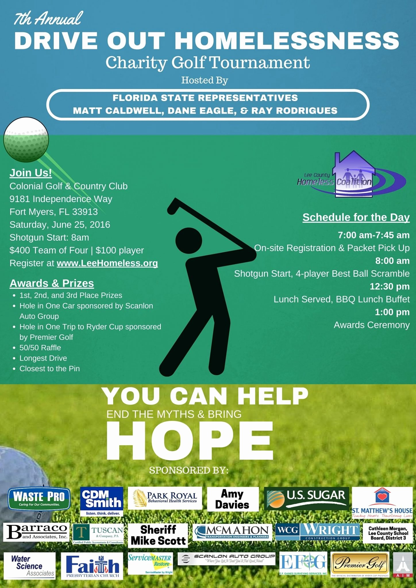 Charity Golf tournament Flyer Inspirational 7th Annual Charity Golf tournament – Lee County Homeless Coalition