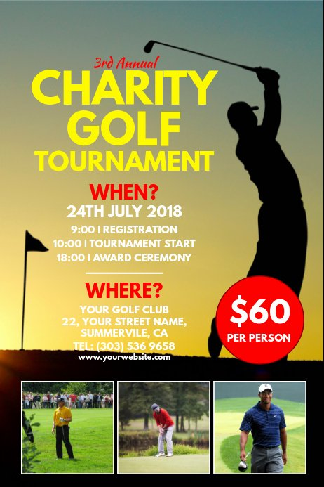 Charity Golf tournament Flyer New Charity Golf tournament Poster Template