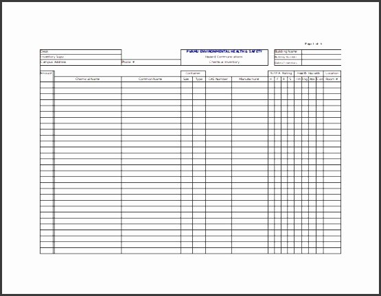 Chemical Inventory List Template Awesome 7 Chemical Inventory List Template Sampletemplatess