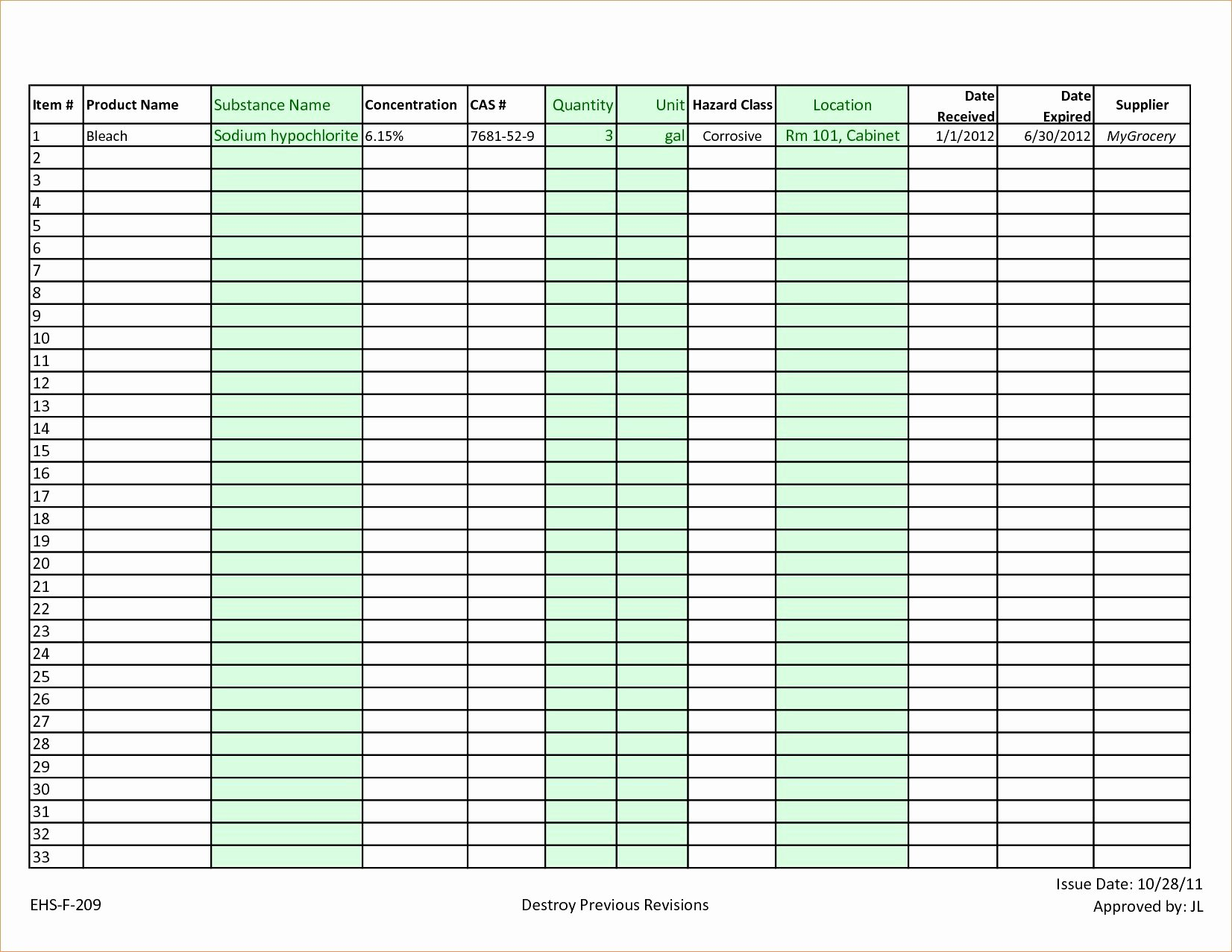 Chemical Inventory List Template Awesome Chemical Inventory List Sample Luxury Chemical Inventory