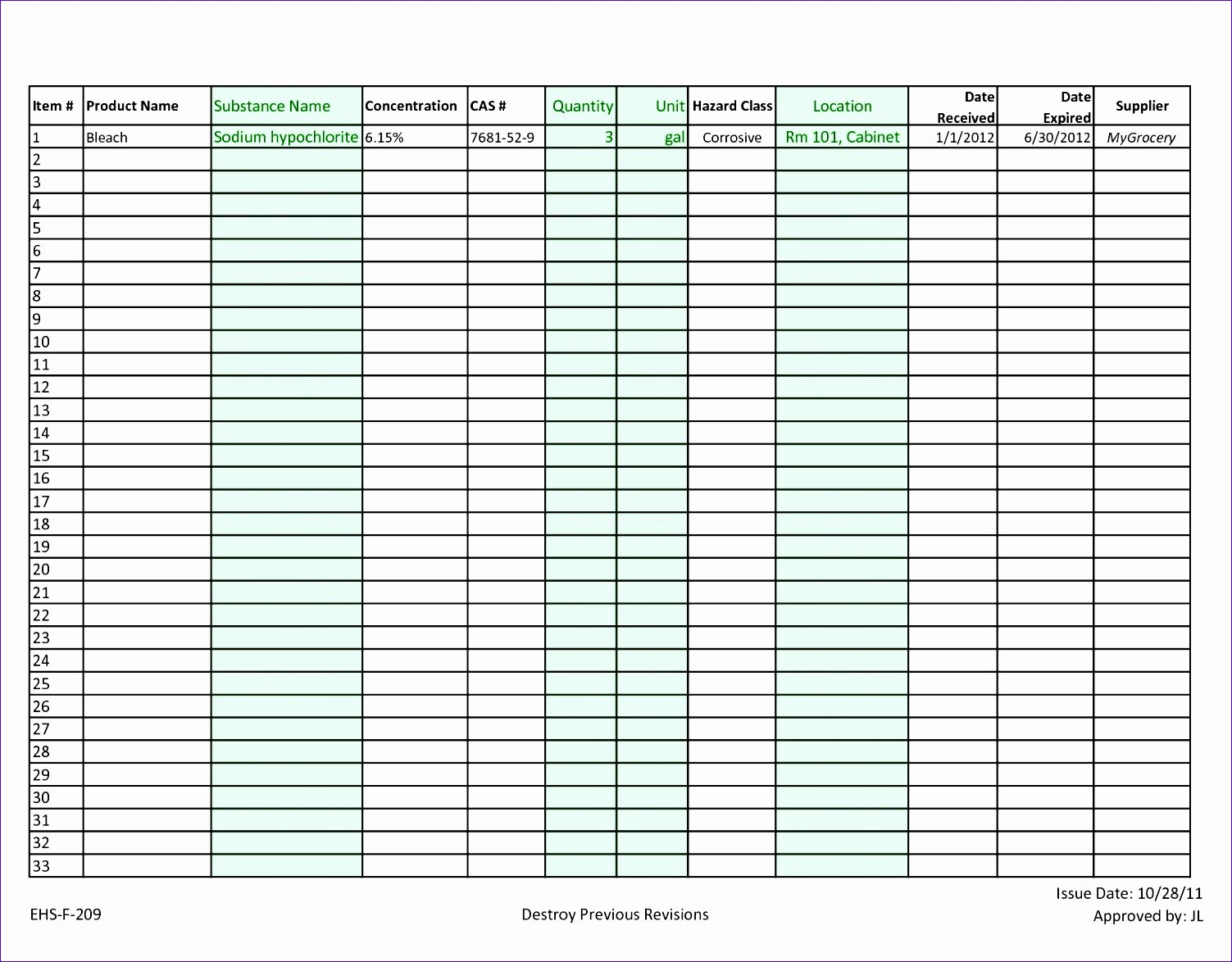 Chemical Inventory List Template Beautiful 10 Chemical Inventory Template Excel Exceltemplates