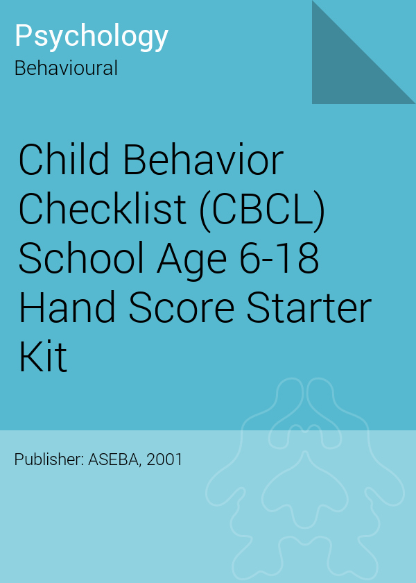 Child Behavior Checklist Pdf Awesome Child Behavior Checklist Cbcl School Age 6 18 Hand Score Starter Kit