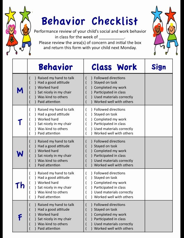 Child Behavior Checklist Pdf Elegant My Weekly Behavior Checklist for Students social and Academic Performances In Class Designed