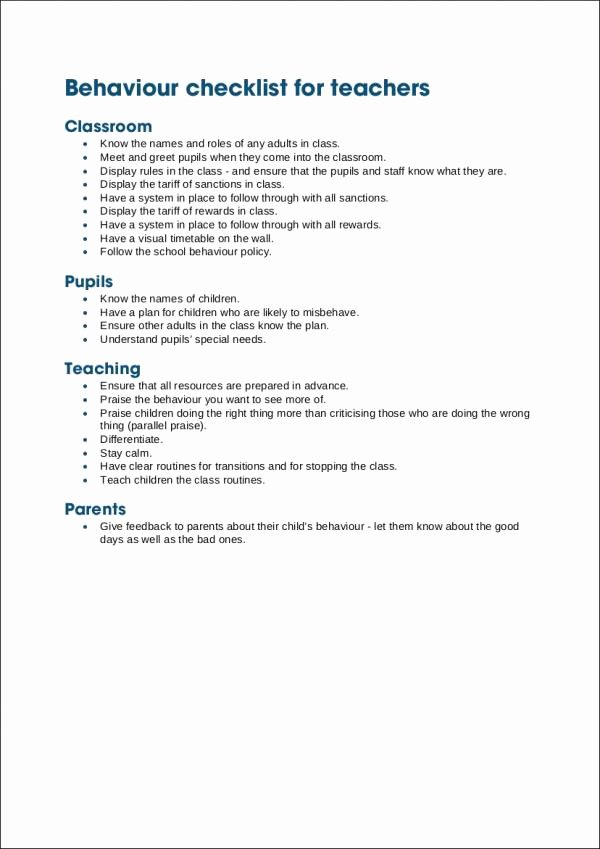 Child Behavior Checklist Pdf Fresh Free 17 Behavior Checklist Samples & Templates In Pdf