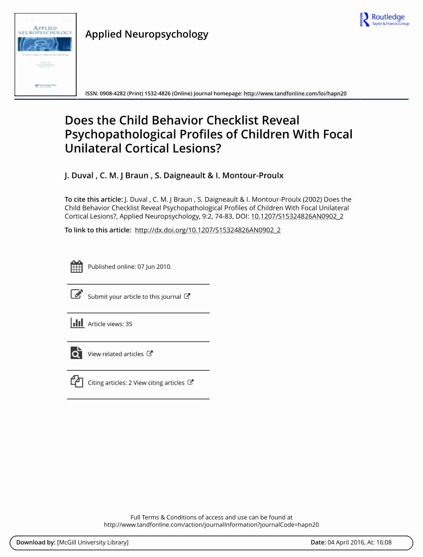 Child Behavior Checklist Pdf Fresh Pdf Does the Child Behavior Checklist Reveal Psychopathological Profiles Of Children with
