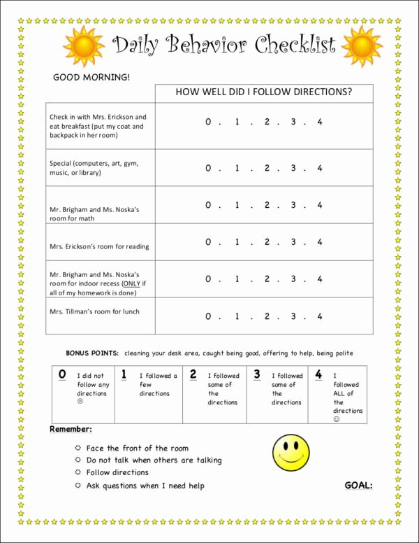 Child Behaviour Checklist Free Download New Free 17 Behavior Checklist Samples & Templates In Pdf