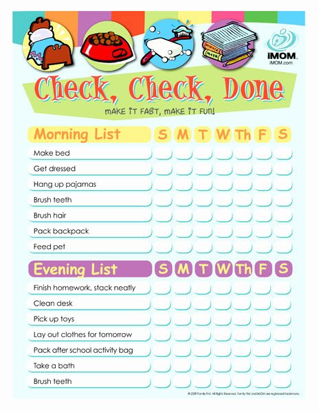 Child Behaviour Checklist Free Download Unique Check Check Done Checklist for Kids Printable Template