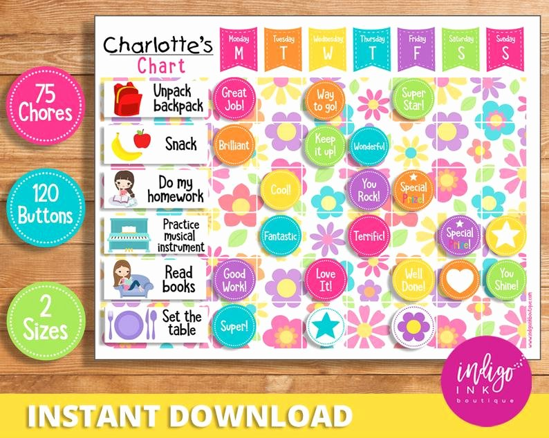 Child Behaviour Checklist Free Download Unique Child Reward Chart Instant Download Behavior Chart for Child