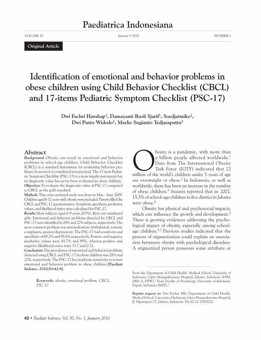 Child Behaviour Checklist Pdf Lovely Pdf Identification Of Emotional and Behavior Problems In Obese Children Using Child Behavior