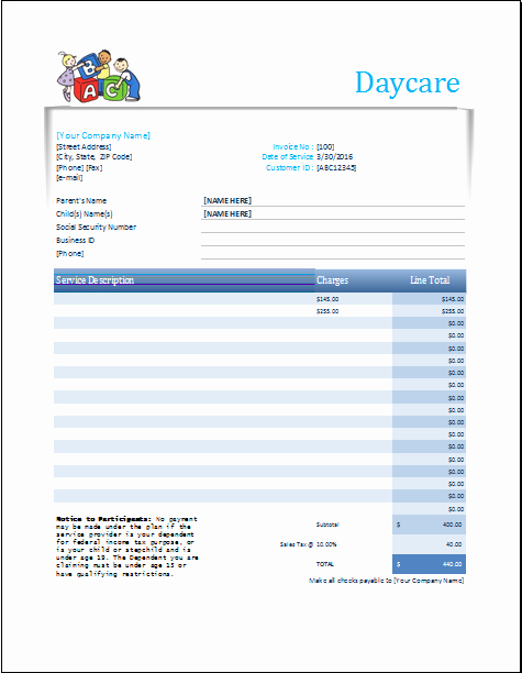Child Care Invoice Template Awesome Daycare Receipt Excel Template