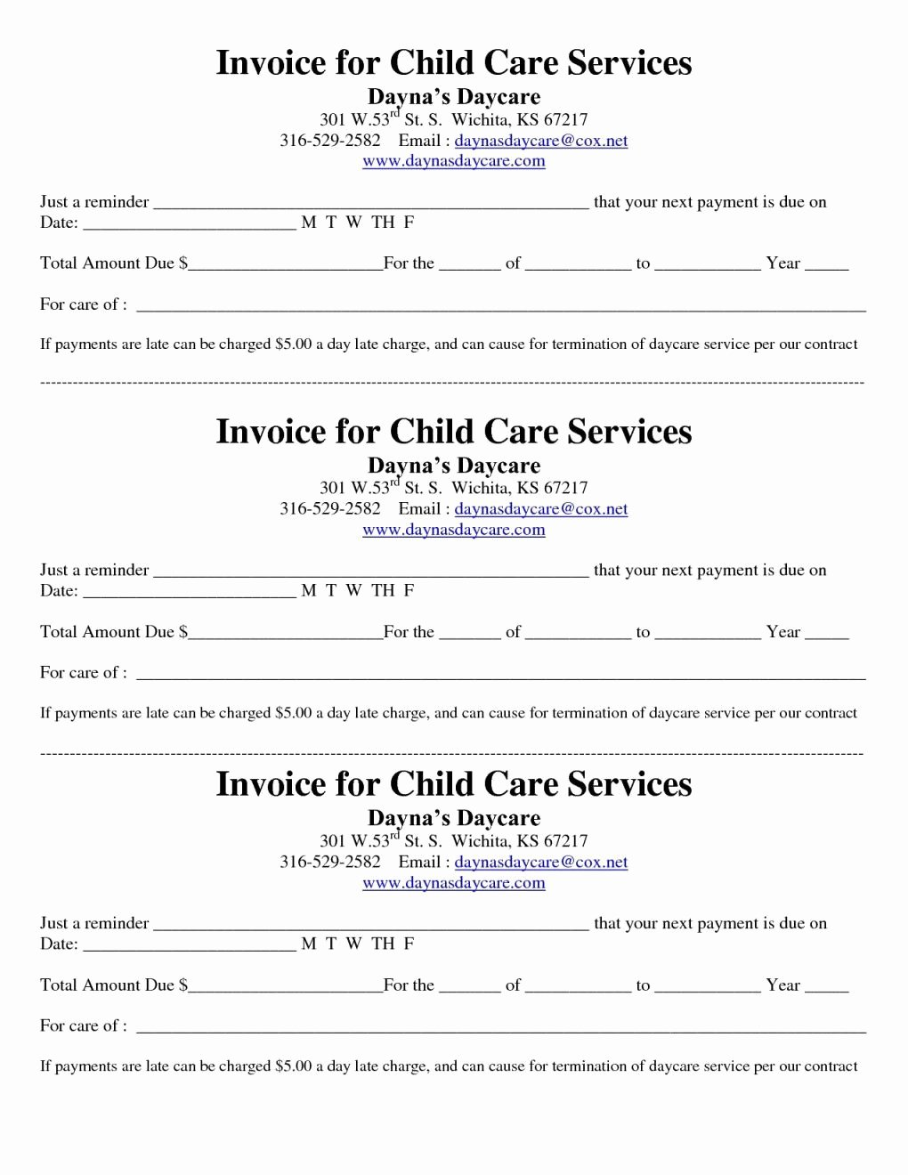 Child Care Invoice Template Fresh Printable Child Care Receipt
