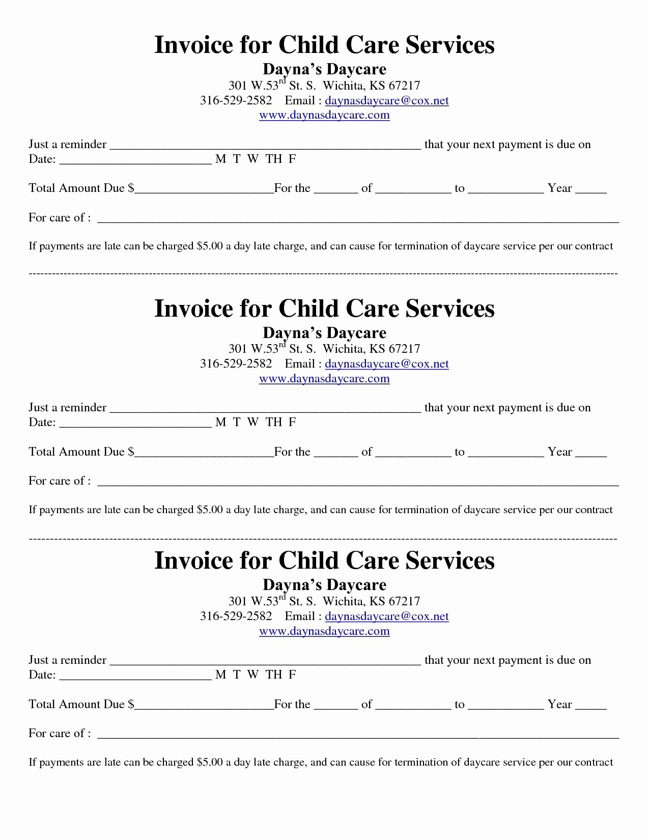 Child Care Invoice Template Lovely Child Care Receipt Invoice Jordi Preschool