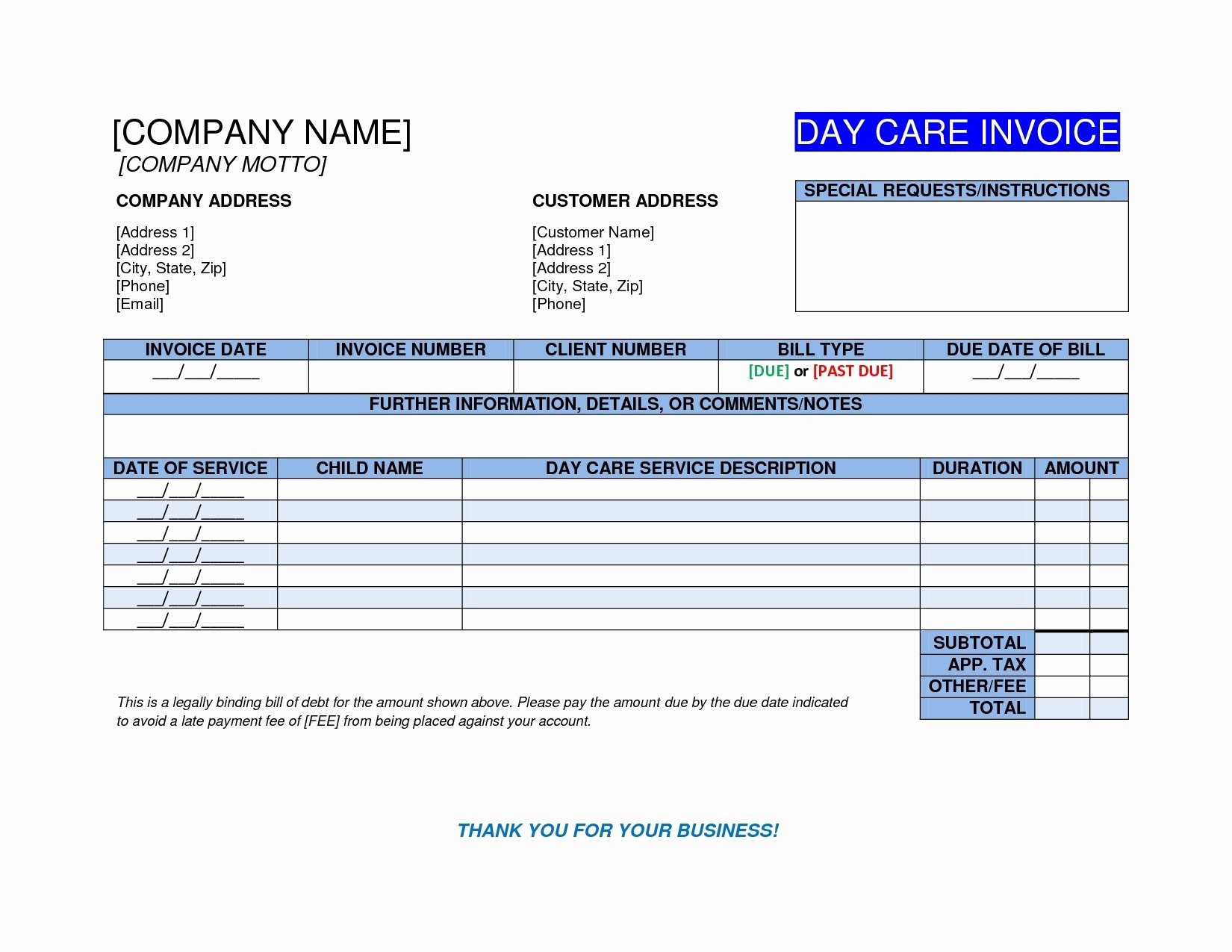 Child Care Invoice Template New Child Care Invoice Invoice Template Ideas