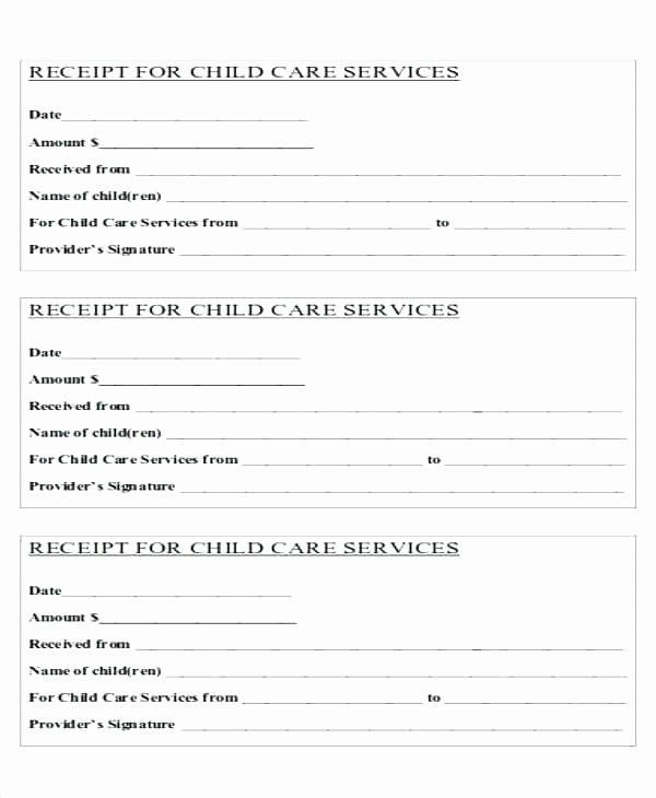 Child Care Payment Receipt Awesome Child Care Tax Receipt Template