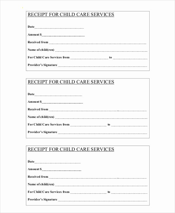 Child Care Payment Receipt New 7 Sample Payment Receipt forms Free Sample Example format Download