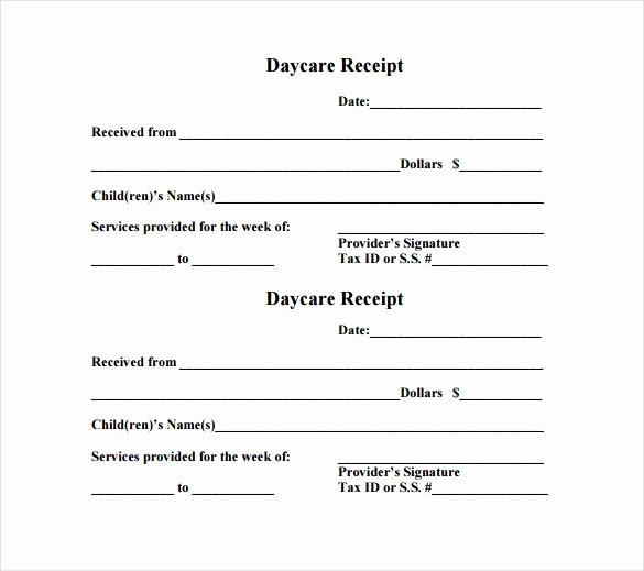 Child Care Receipt Template Beautiful Daycare Receipt Template – 12 Free Word Excel Pdf