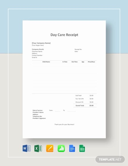 Child Care Receipt Template Luxury 20 Daycare Receipt Templates Doc Pdf