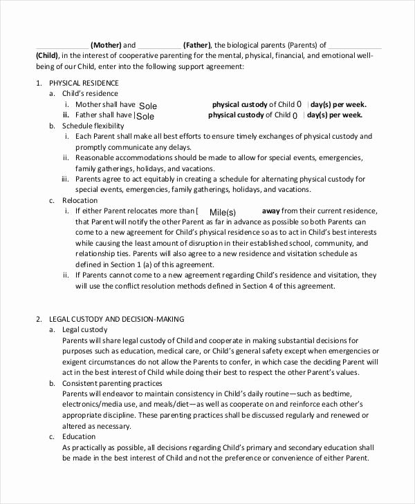 Child Support Agreement Letter Awesome 10 Child Support Agreement Templates Pdf Doc