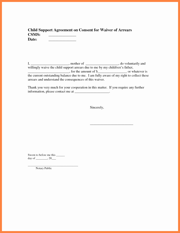 Child Support Agreement Letter Fresh 9 Sample Child Support Agreement Letter Template