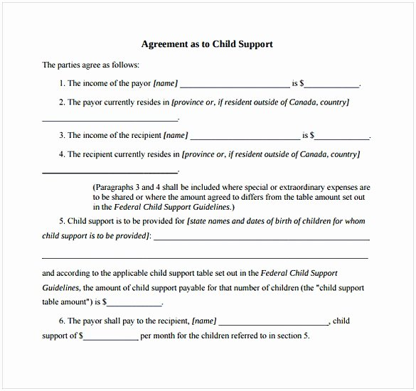 Child Support Agreement Letter Luxury Child Support Agreement Template