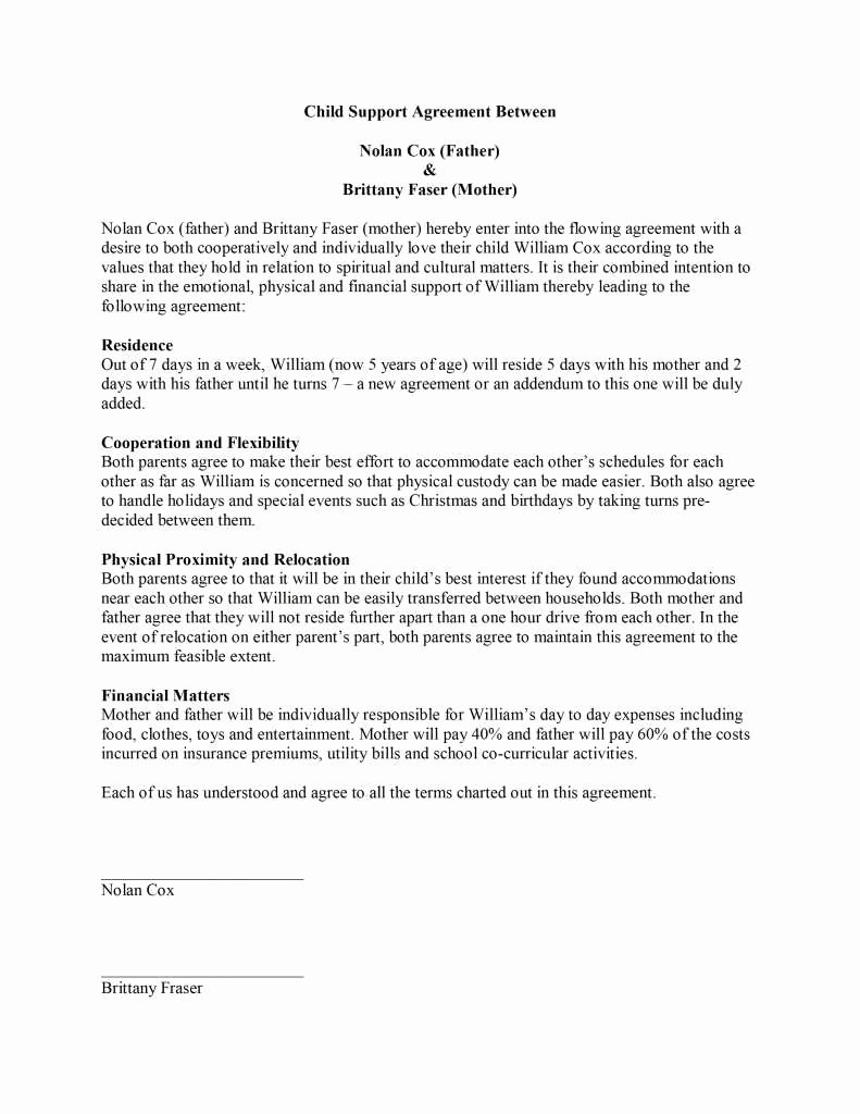 Child Support Agreement Letter Unique Child Support Agreement Letter original Child Support Agreement Template Free Microsoft Word