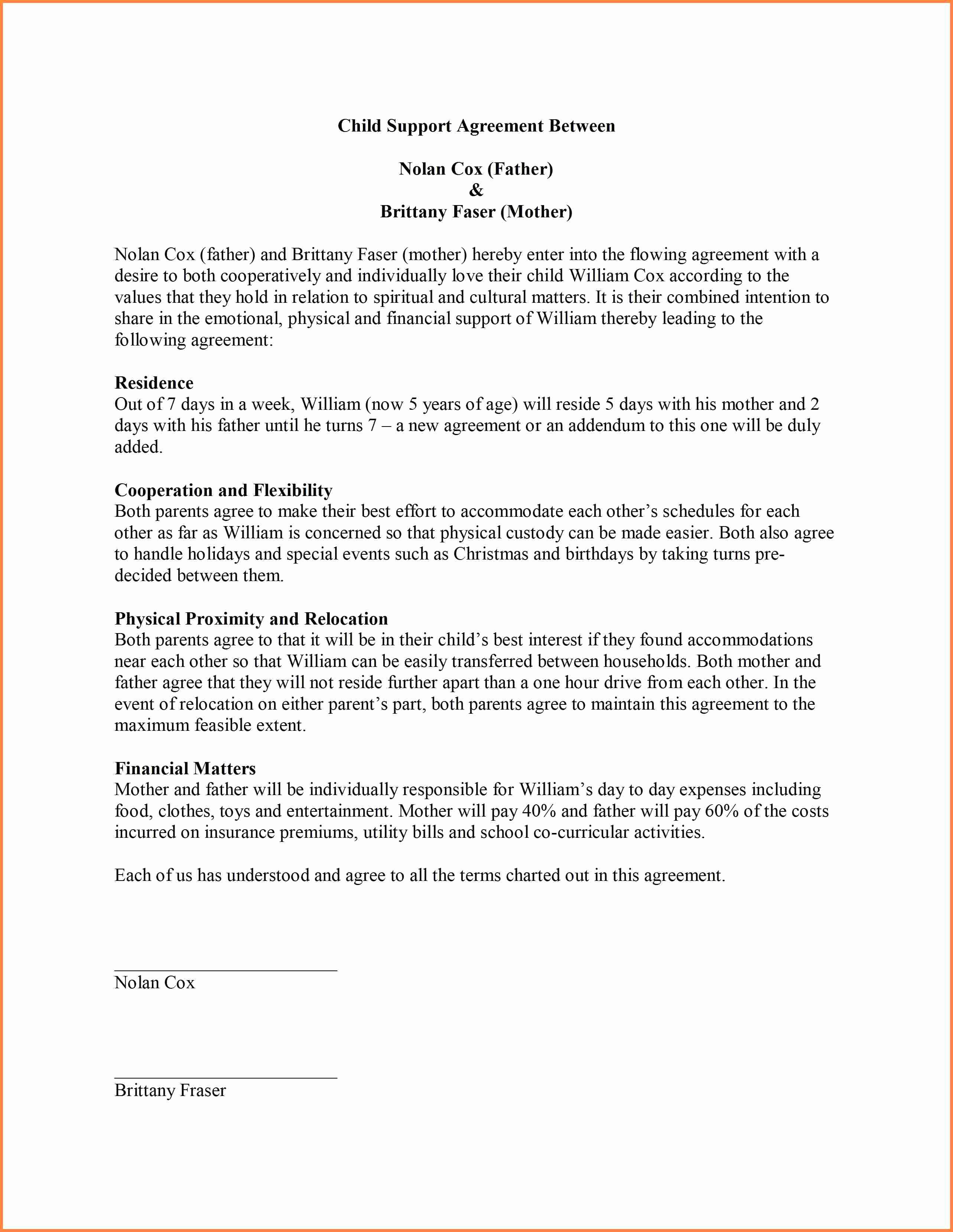 Child Support Agreement Sample New 9 Sample Child Support Agreement Letter Template