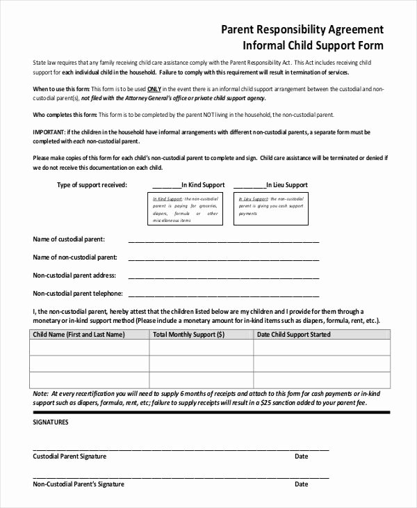 Child Support Receipt Template Awesome 10 Child Support Agreement Templates Pdf Doc