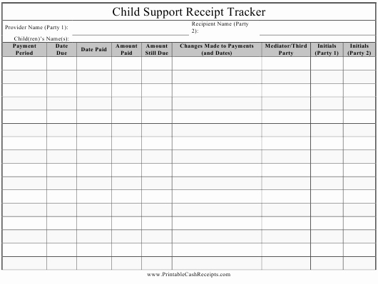 Child Support Receipt Template Elegant Child Support Receipt Tracker Spreadsheet Download Printable Pdf