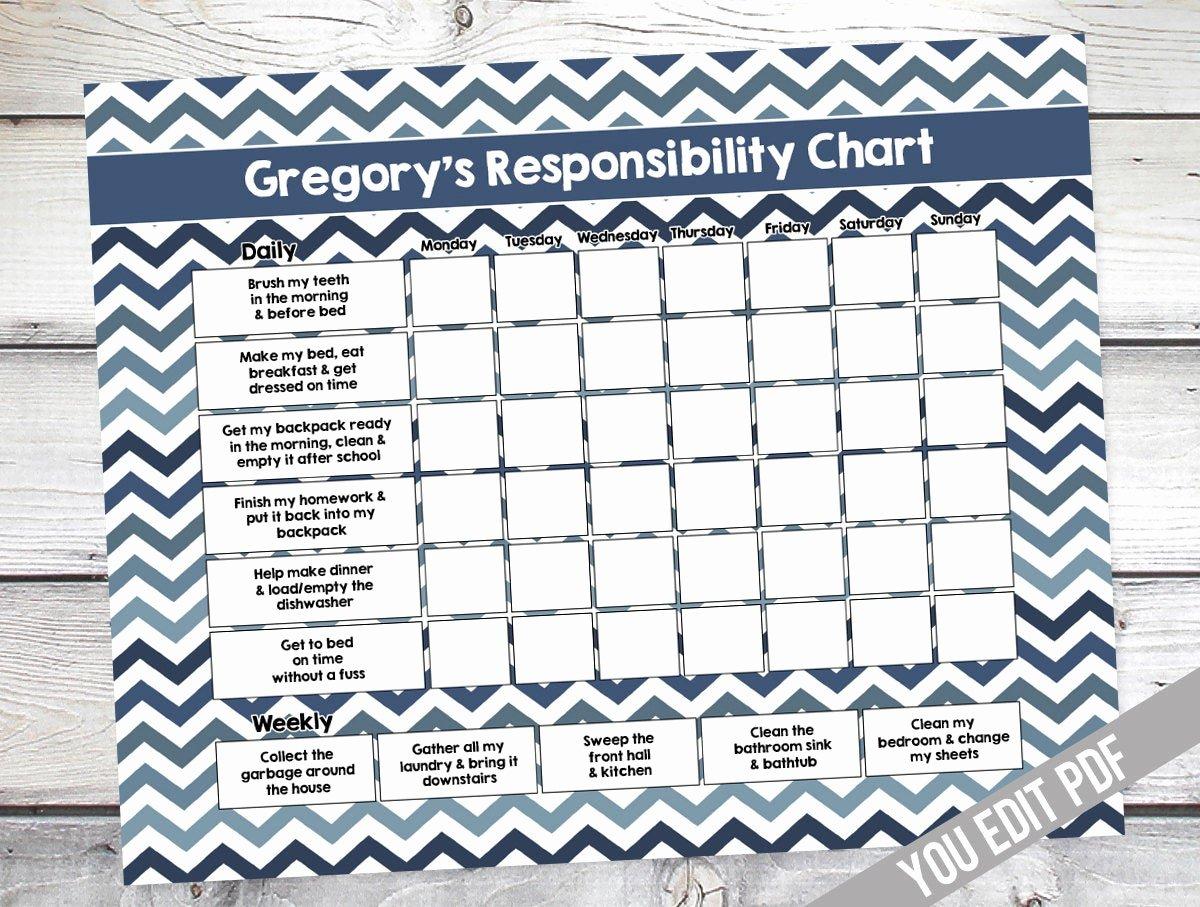 Chore Chart for Teens Inspirational Chore Chart for Kids Teen Reward Chart Responsibility
