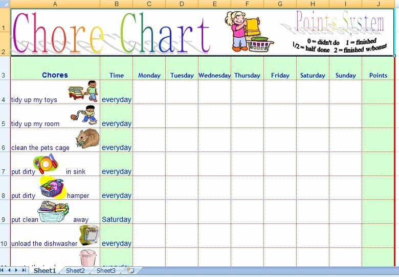 Chore Chart Template Word Elegant Family Daily Chore Chart Template Free Kids and Parenting