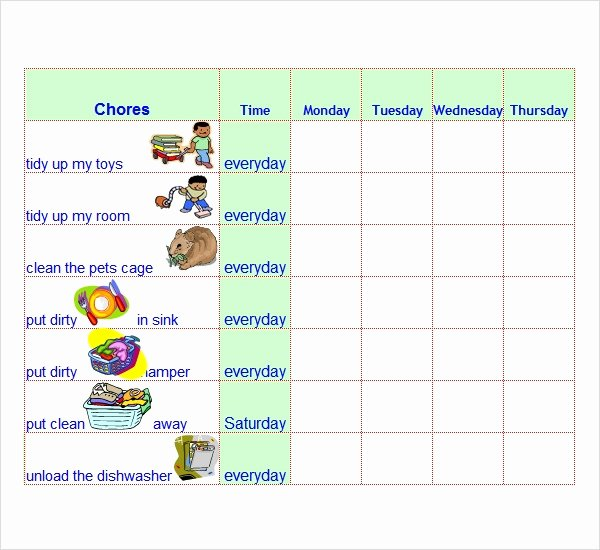 Chore Chart Template Word New Free 7 Chore List Templates In Word Excel