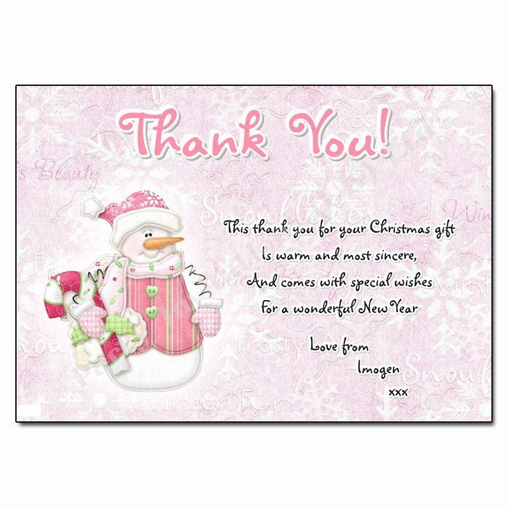 Christmas Thank You Notes Beautiful Snowgirl Christmas Thank You Note