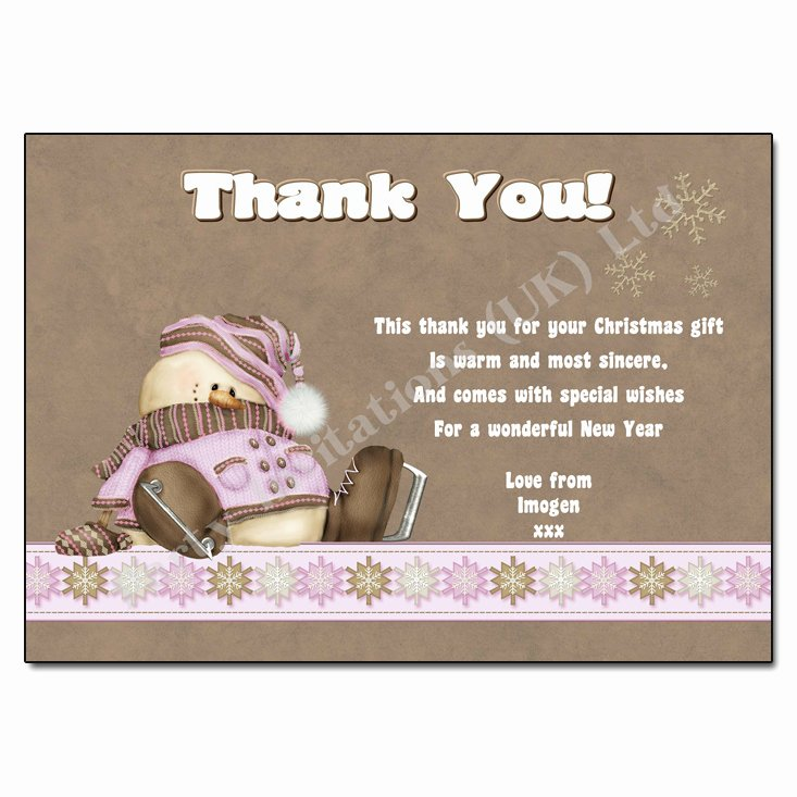 Christmas Thank You Notes Inspirational Frosty the Snowman Pink Christmas Thank You Note