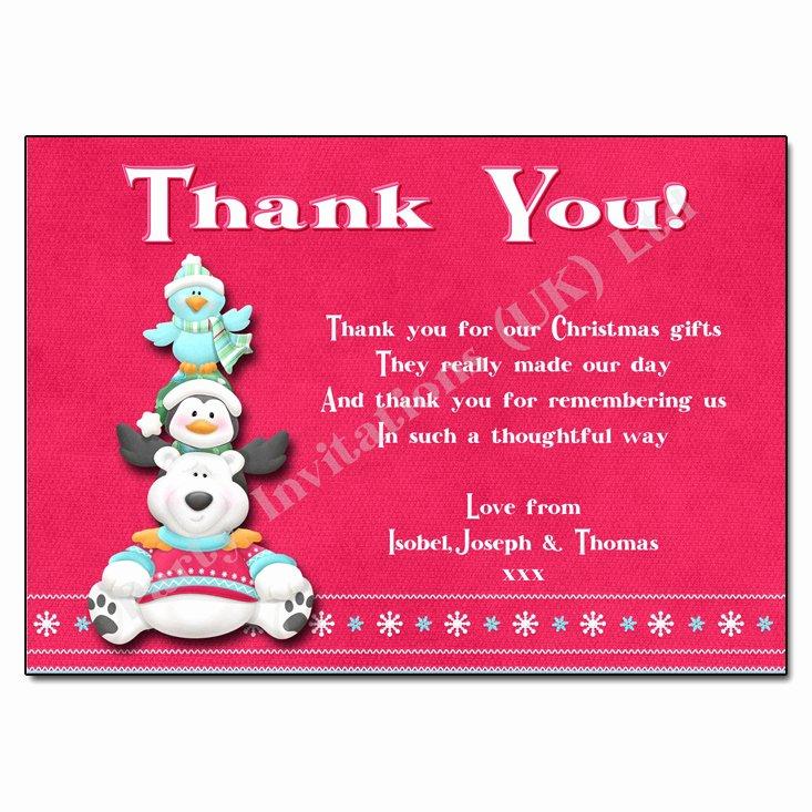 Christmas Thank You Notes Inspirational Polar Bear Christmas Thank You Note