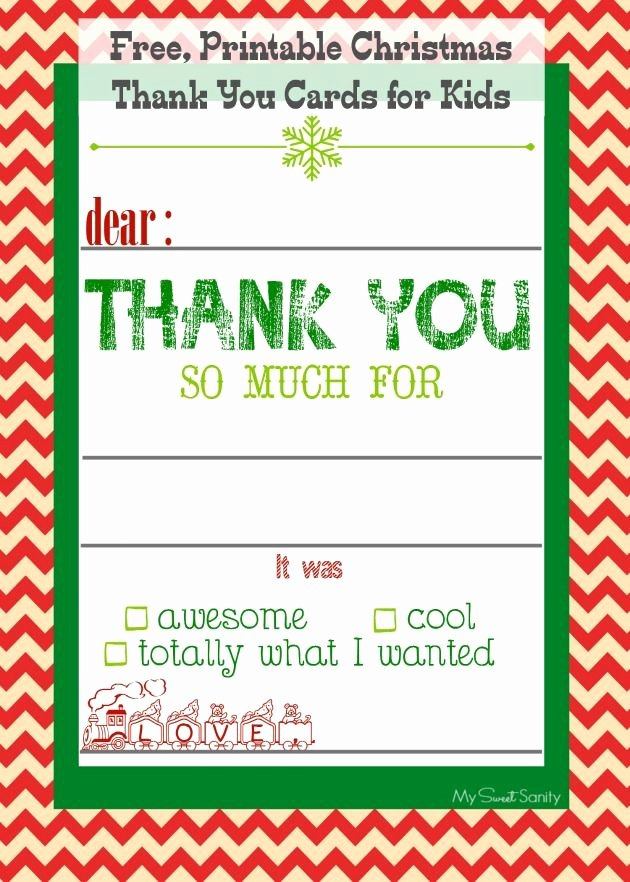 Christmas Thank You Notes New Free Printable Christmas Thank You Cards for Kids