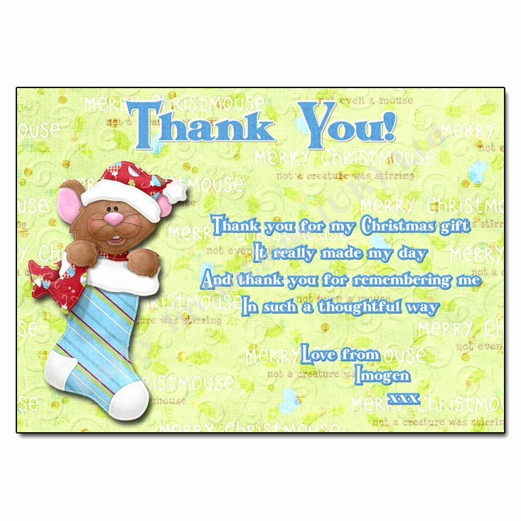 Christmas Thank You Notes New Stocking Christmas Thank You Note