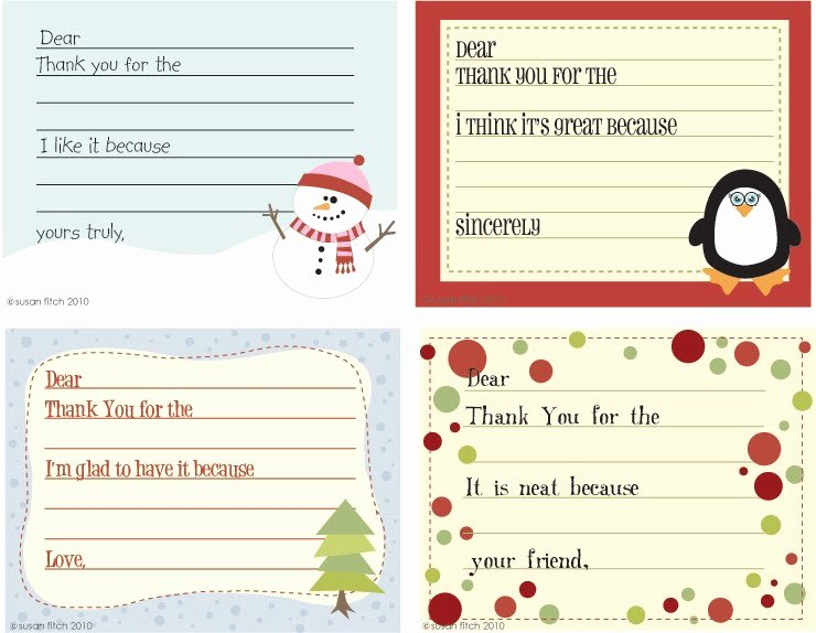 Christmas Thank You Notes New Susan Fitch Design Christmas Thank You Notes for Kids