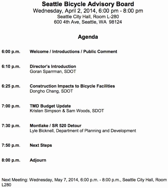 Church Board Meeting Agenda Awesome Interim Sdot Director Will Speak at April Bike Board Meeting Construction Impacts Bud 520
