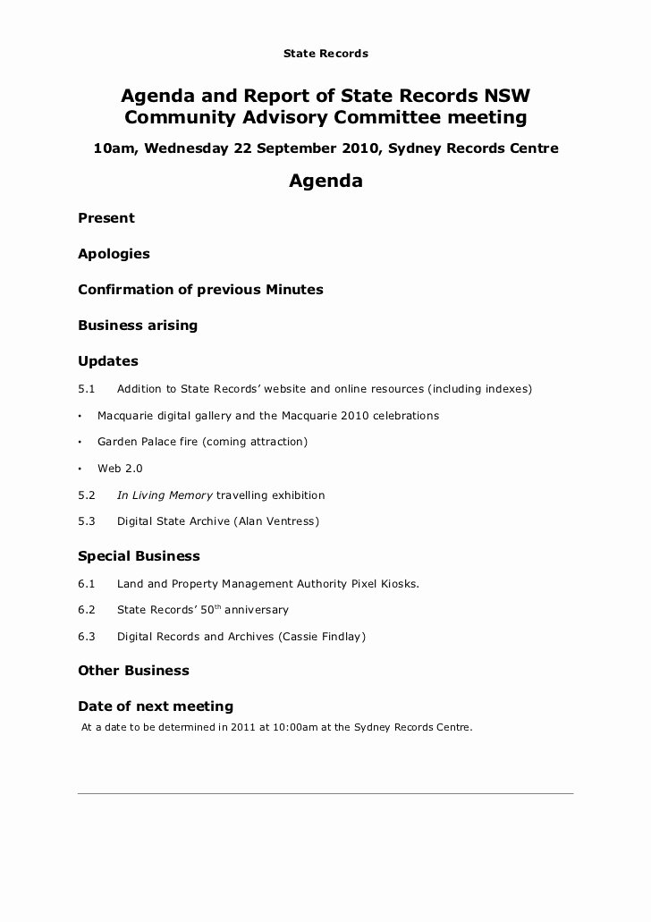 Church Board Meeting Agenda Lovely Agenda and Report On the Munity Advisory Mittee Meeting Septemb…