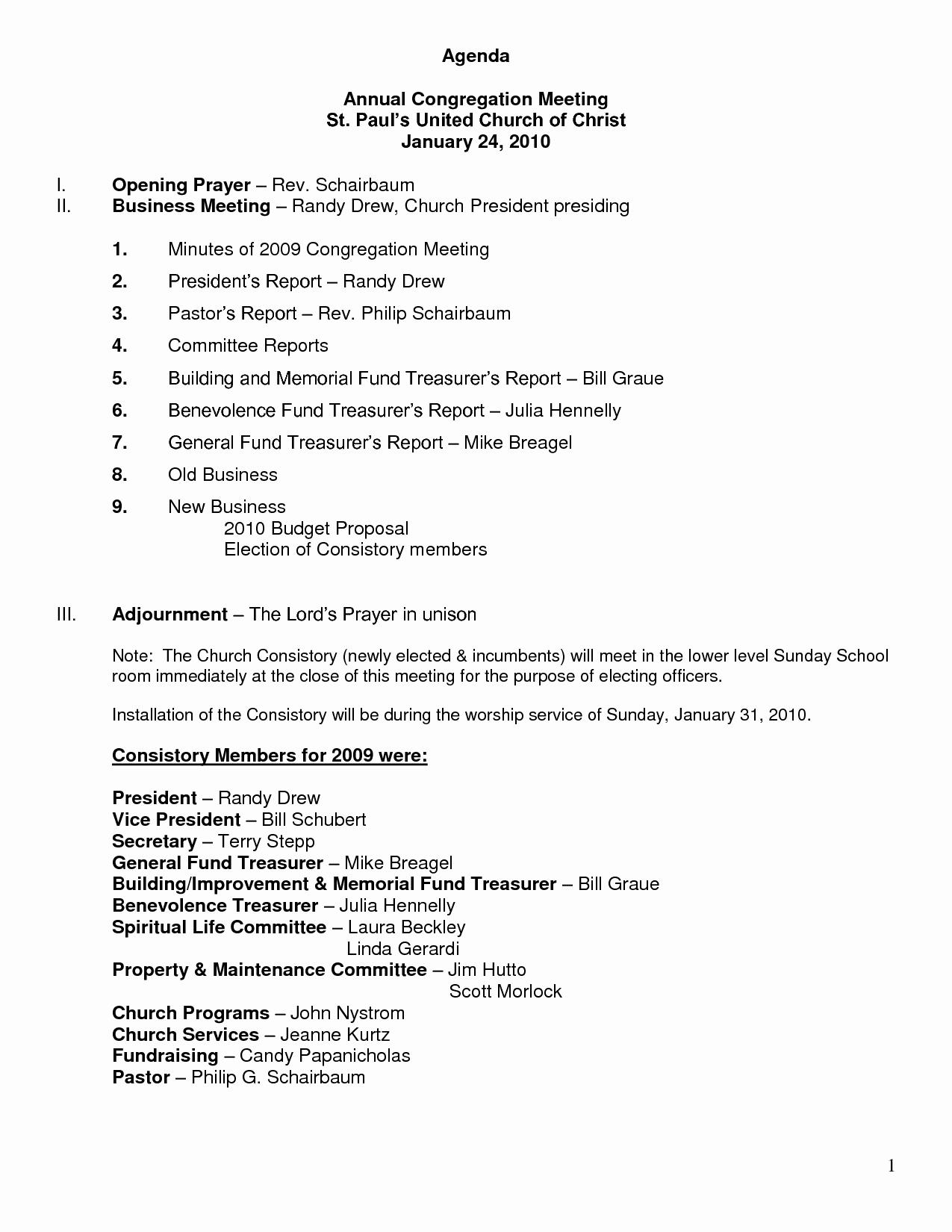 Church Board Meeting Agenda Unique 26 Of Church Meeting Agenda Template