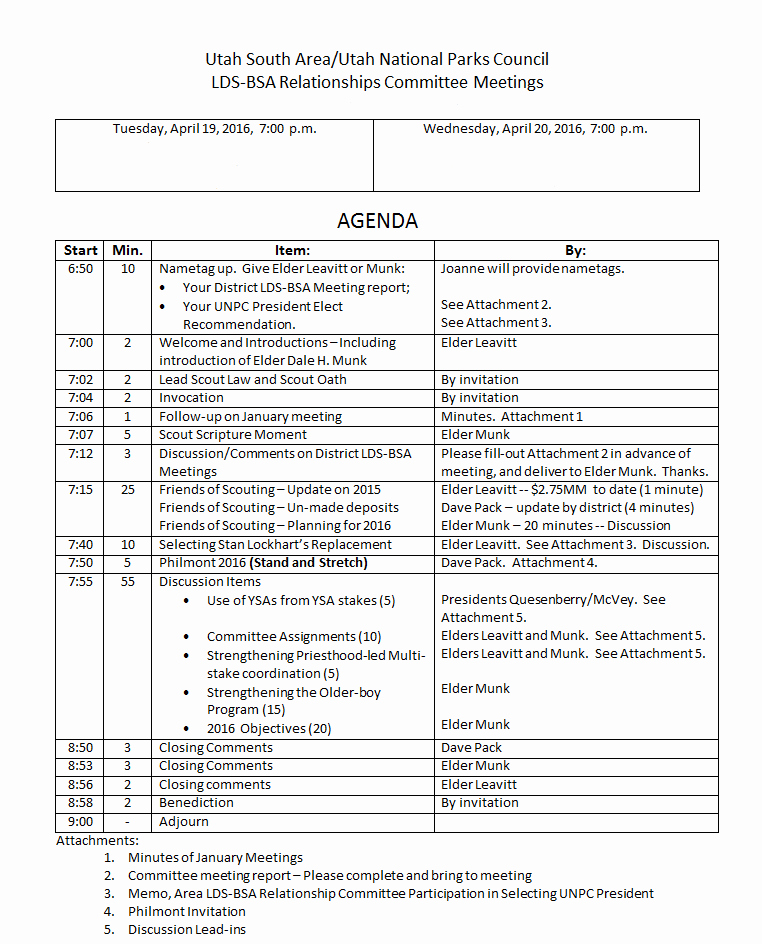 Church Board Meeting Agenda Unique the Lds Church S Continued Involvement In Scouting Locally and Nationally the Boy Scout