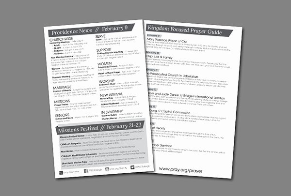 Weekly Church Bulletin Layout